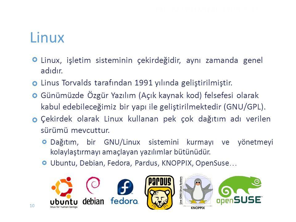 Linux Linux, işletim sisteminin çekirdeğidir, aynı zamanda genel