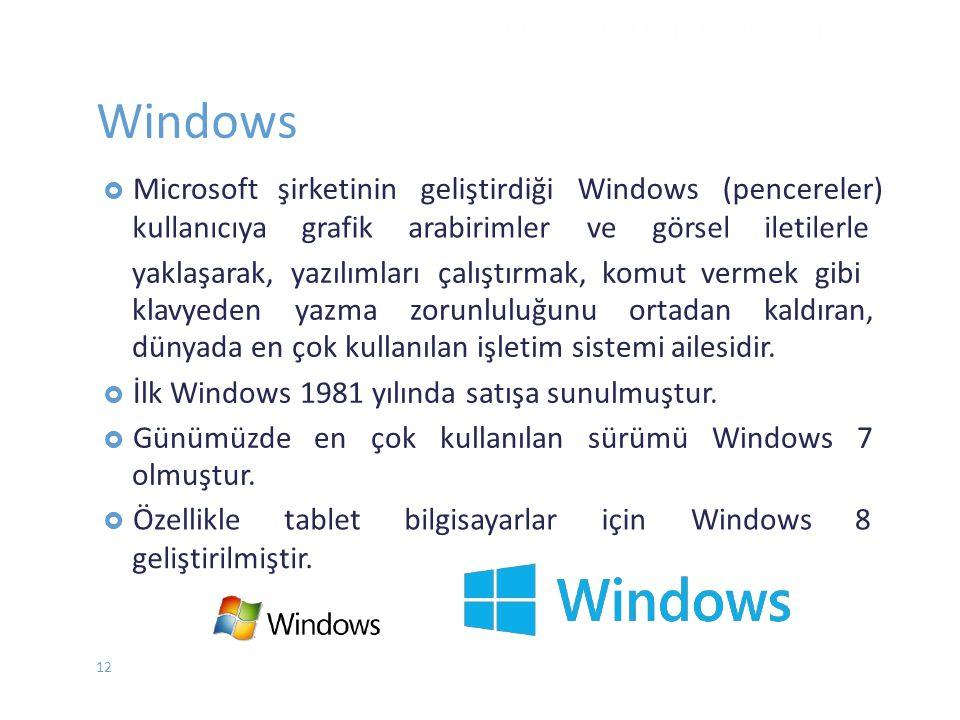 Windows şirketinin geliştirdiği Windows (pencereler) kullanıcıya