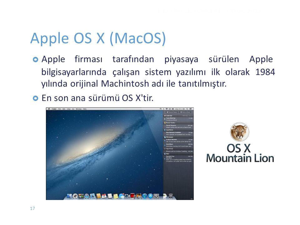 Apple OS X (MacOS) firması tarafından piyasaya sürülen Apple