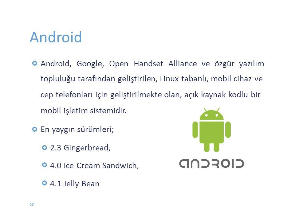 Android Android, Google, Open Handset Alliance ve özgür yazılım