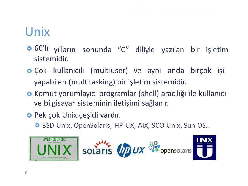 Unix yılların sonunda C diliyle yazılan bir işletim sistemidir.
