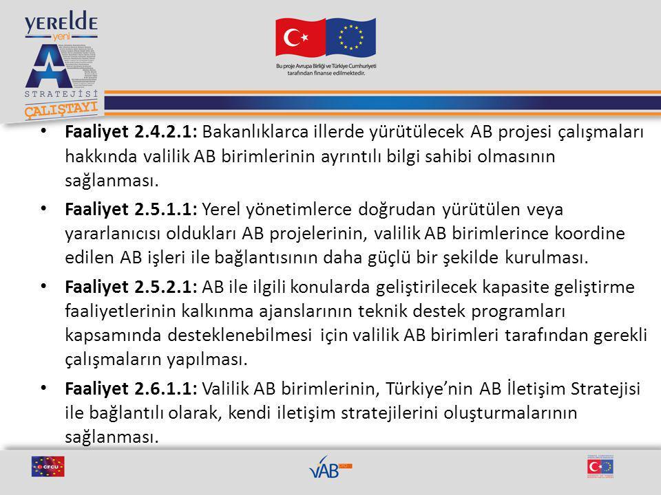Faaliyet 2.4.2.1: Bakanlıklarca illerde yürütülecek AB projesi çalışmaları hakkında valilik AB birimlerinin ayrıntılı bilgi sahibi olmasının sağlanması.