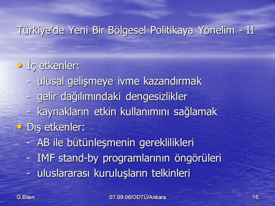Türkiye'de Yeni Bir Bölgesel Politikaya Yönelim - II