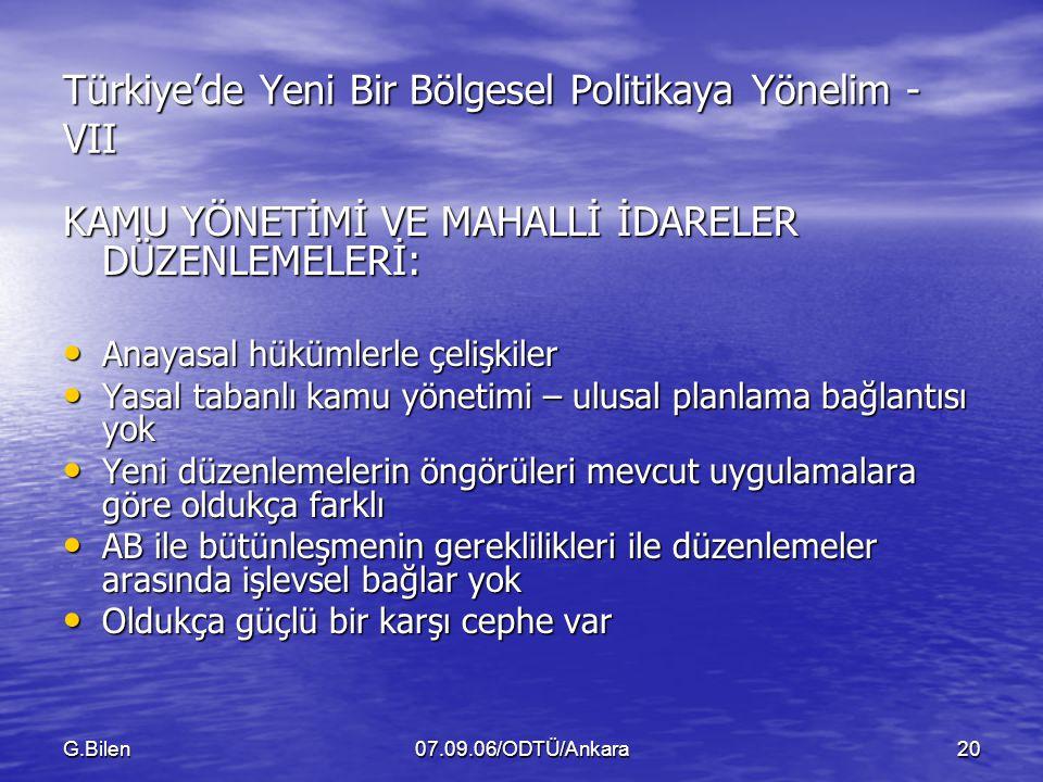 Türkiye'de Yeni Bir Bölgesel Politikaya Yönelim - VII