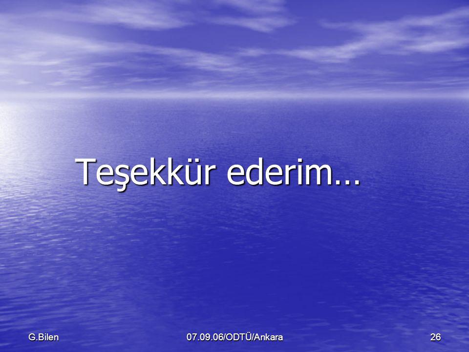 Teşekkür ederim… G.Bilen 07.09.06/ODTÜ/Ankara
