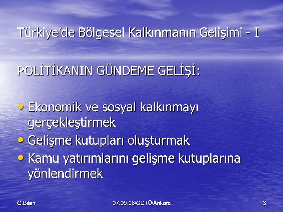 Türkiye'de Bölgesel Kalkınmanın Gelişimi - I