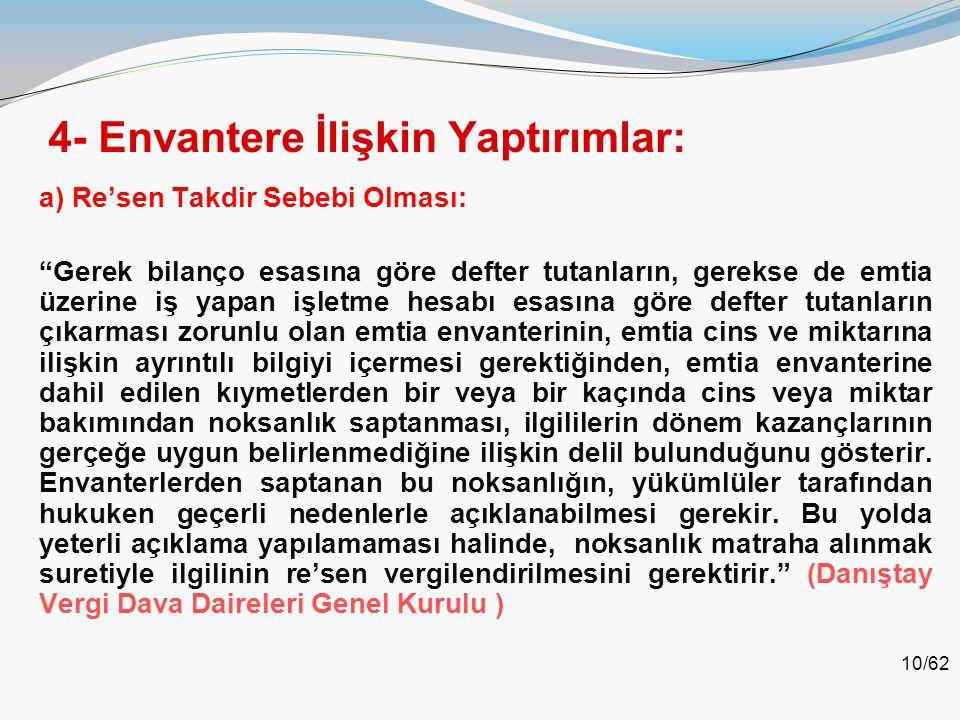 4- Envantere İlişkin Yaptırımlar: