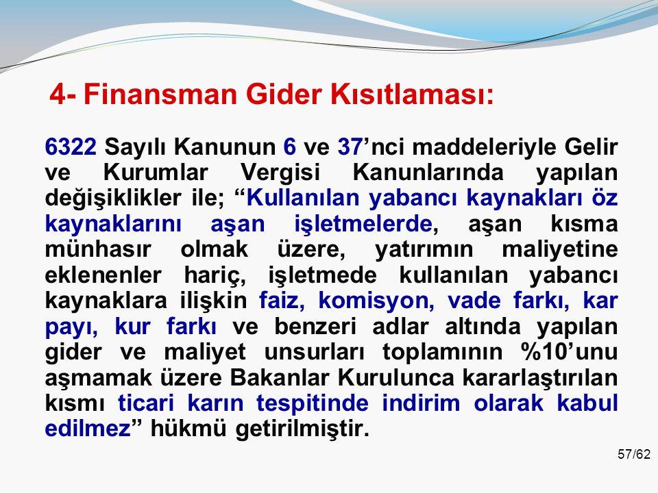 4- Finansman Gider Kısıtlaması: