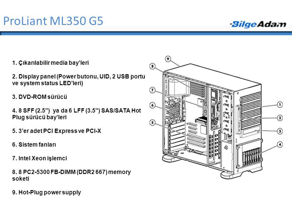 ProLiant ML350 G5 1. Çıkarılabilir media bay'leri