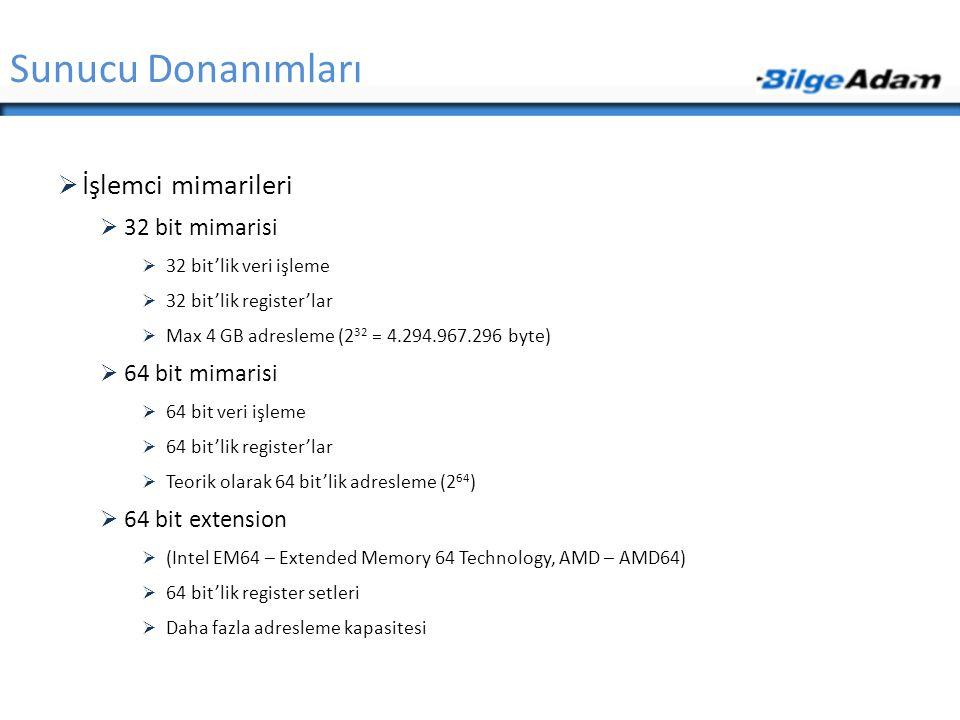 Sunucu Donanımları İşlemci mimarileri 32 bit mimarisi 64 bit mimarisi
