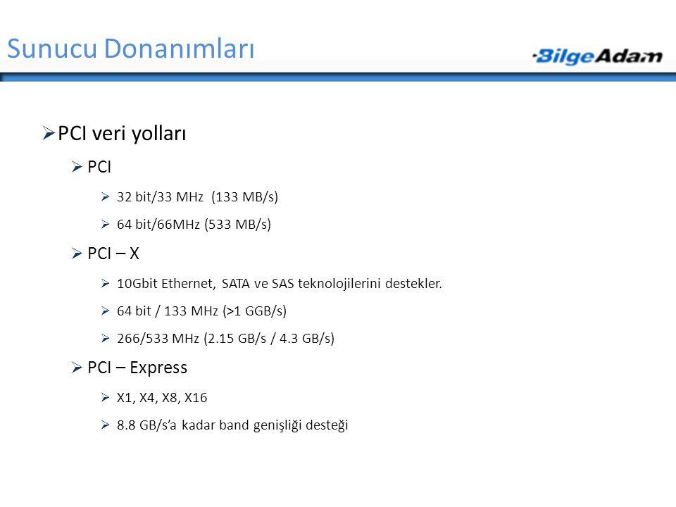 Sunucu Donanımları PCI veri yolları PCI PCI – X PCI – Express