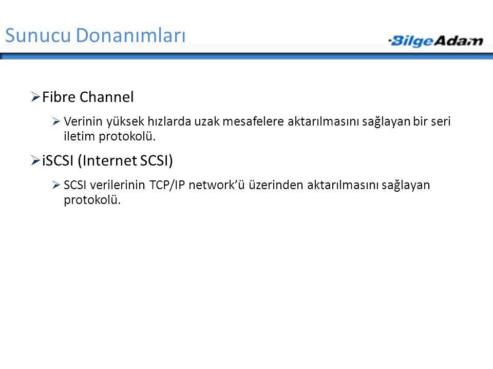 Sunucu Donanımları Fibre Channel iSCSI (Internet SCSI)