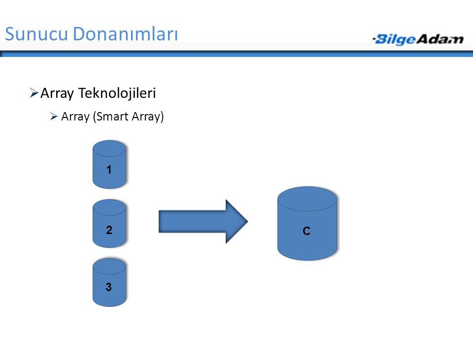 Sunucu Donanımları Array Teknolojileri Array (Smart Array) 1 2 C 3