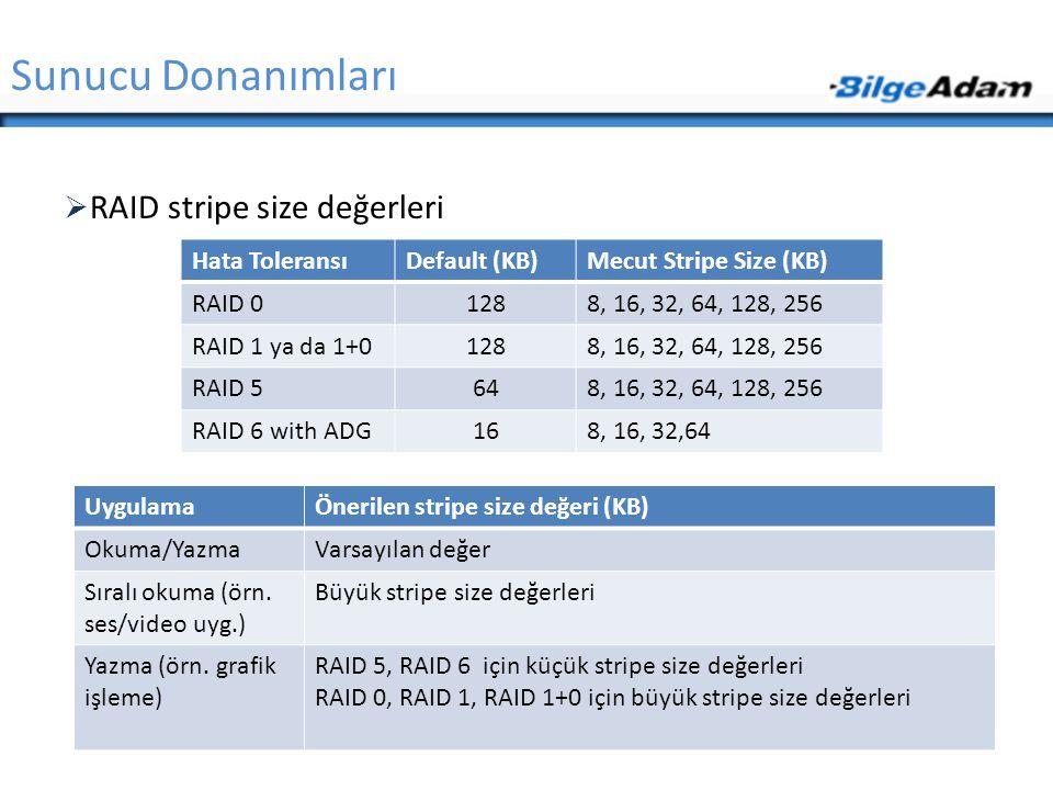 Sunucu Donanımları RAID stripe size değerleri Hata Toleransı