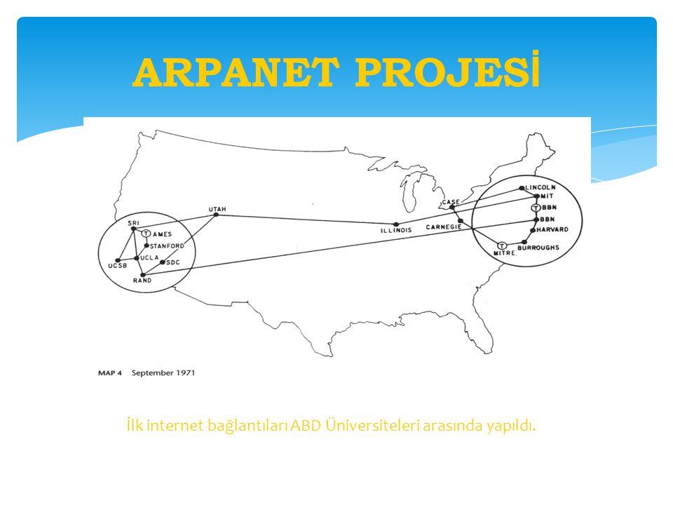 ARPANET PROJESİ İlk internet bağlantıları ABD Üniversiteleri arasında yapıldı.