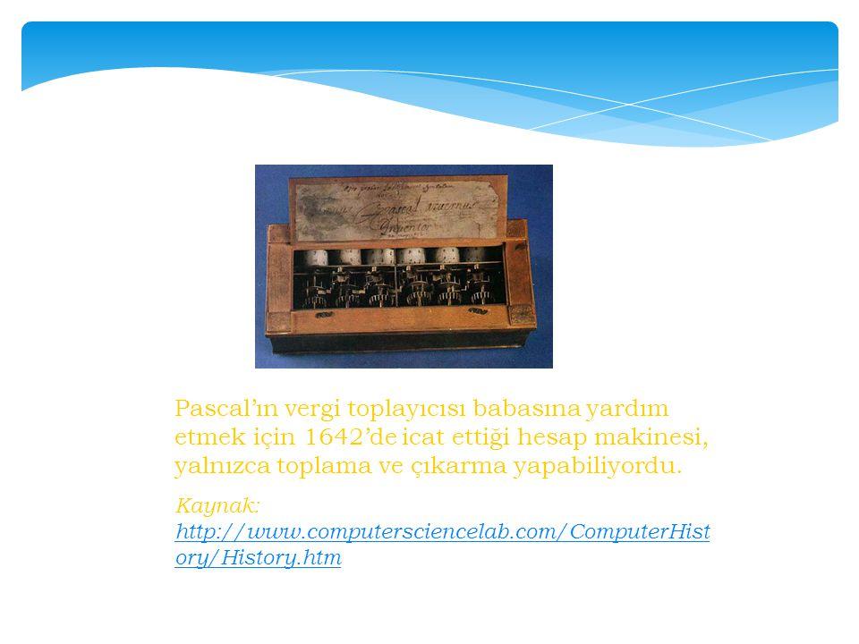 Pascal'ın vergi toplayıcısı babasına yardım etmek için 1642'de icat ettiği hesap makinesi, yalnızca toplama ve çıkarma yapabiliyordu.