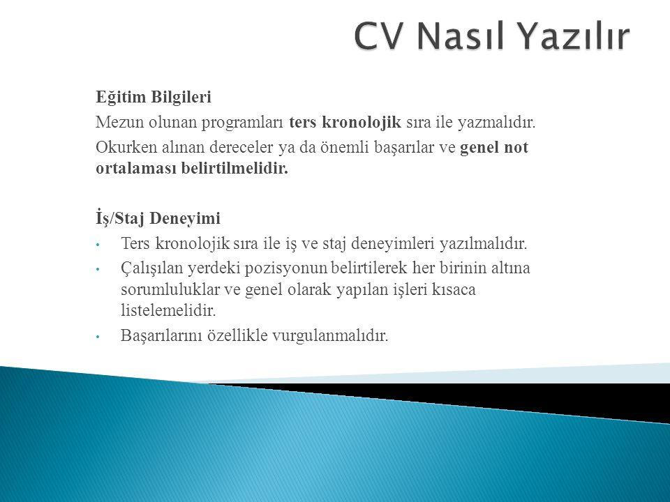 CV Nasıl Yazılır Eğitim Bilgileri