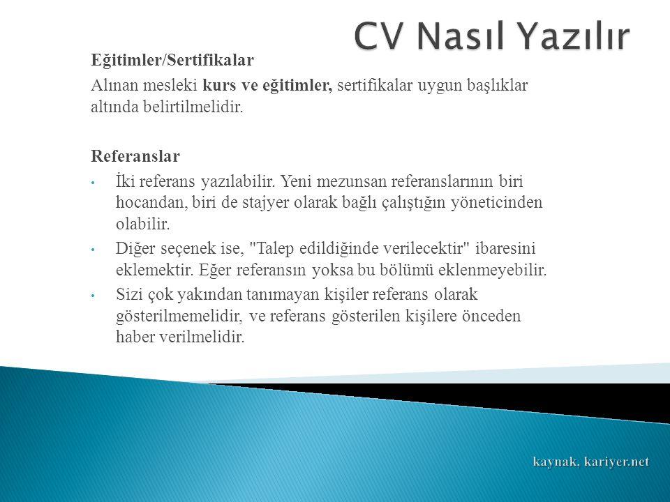 CV Nasıl Yazılır Eğitimler/Sertifikalar