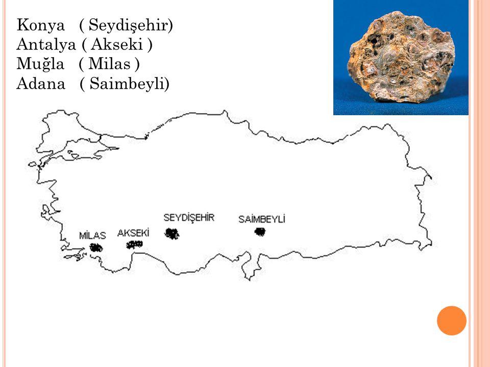 Konya ( Seydişehir) Antalya ( Akseki ) Muğla ( Milas ) Adana ( Saimbeyli)