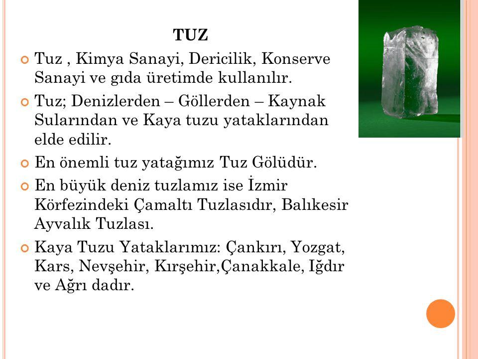 TUZ Tuz , Kimya Sanayi, Dericilik, Konserve Sanayi ve gıda üretimde kullanılır.