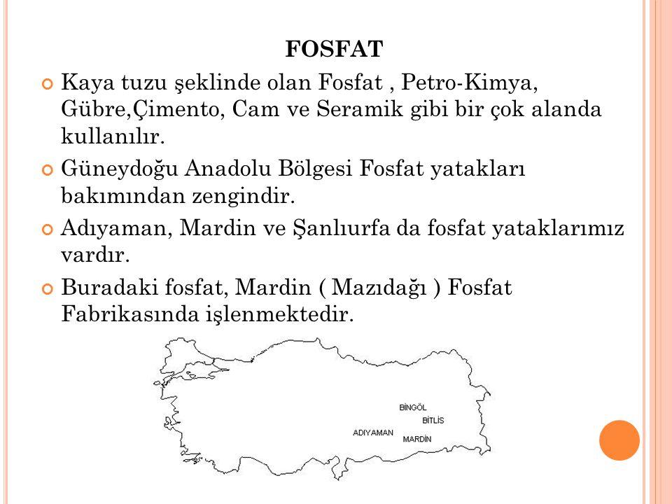 FOSFAT Kaya tuzu şeklinde olan Fosfat , Petro-Kimya, Gübre,Çimento, Cam ve Seramik gibi bir çok alanda kullanılır.