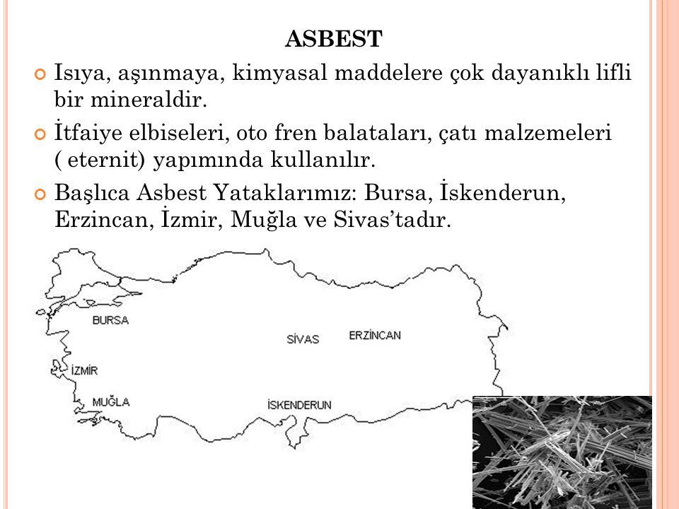 ASBEST Isıya, aşınmaya, kimyasal maddelere çok dayanıklı lifli bir mineraldir.