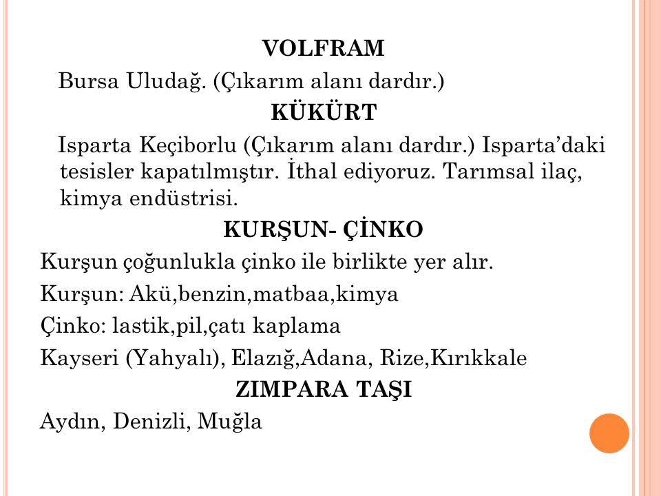 VOLFRAM Bursa Uludağ. (Çıkarım alanı dardır
