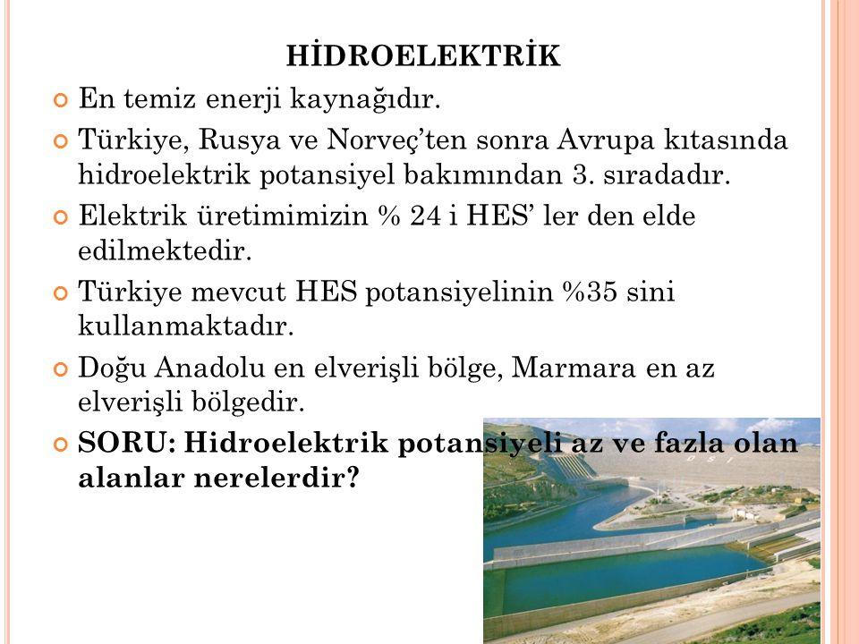 HİDROELEKTRİK En temiz enerji kaynağıdır. Türkiye, Rusya ve Norveç'ten sonra Avrupa kıtasında hidroelektrik potansiyel bakımından 3. sıradadır.