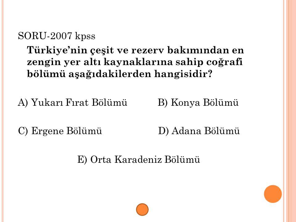 SORU-2007 kpss Türkiye'nin çeşit ve rezerv bakımından en zengin yer altı kaynaklarına sahip coğrafi bölümü aşağıdakilerden hangisidir
