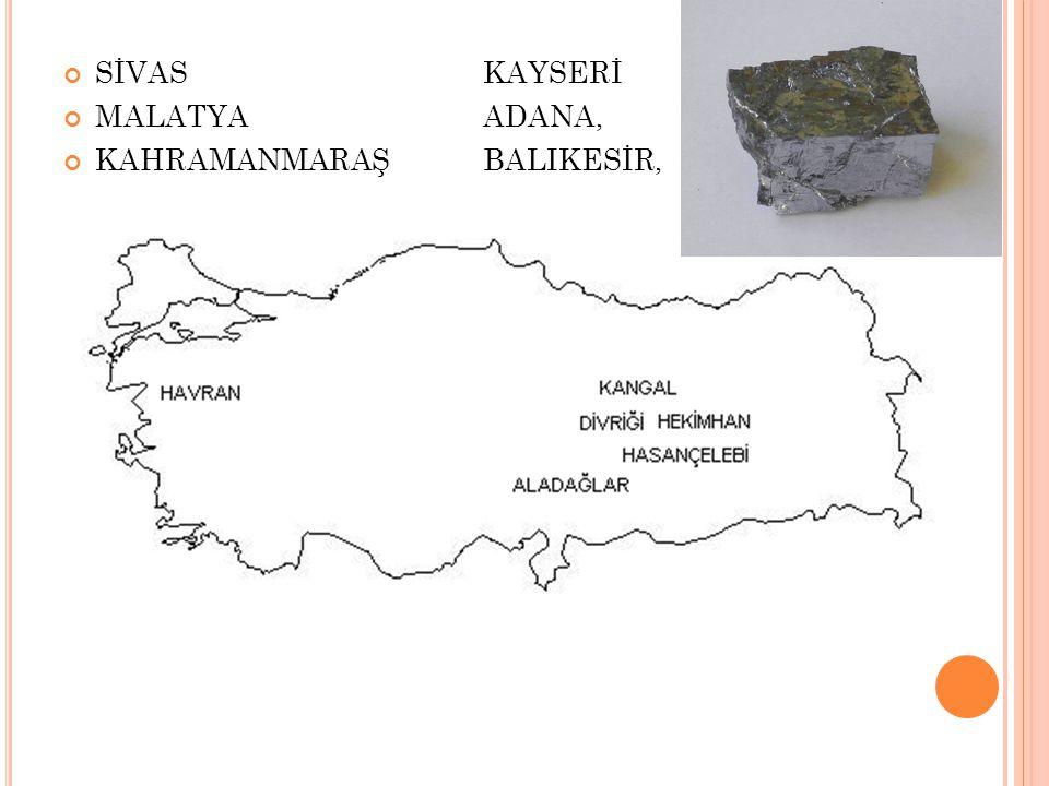 SİVAS KAYSERİ MALATYA ADANA, KAHRAMANMARAŞ BALIKESİR,