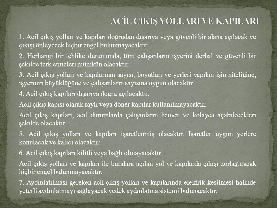 ACİL ÇIKIŞ YOLLARI VE KAPILARI