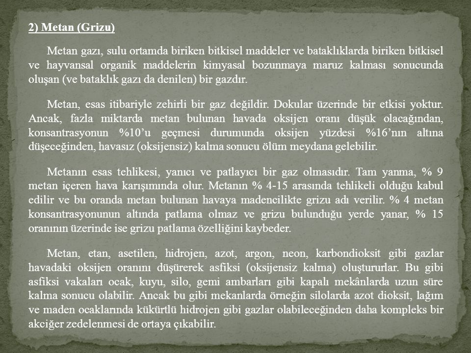 2) Metan (Grizu)