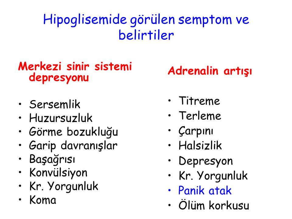 Hipoglisemide görülen semptom ve belirtiler