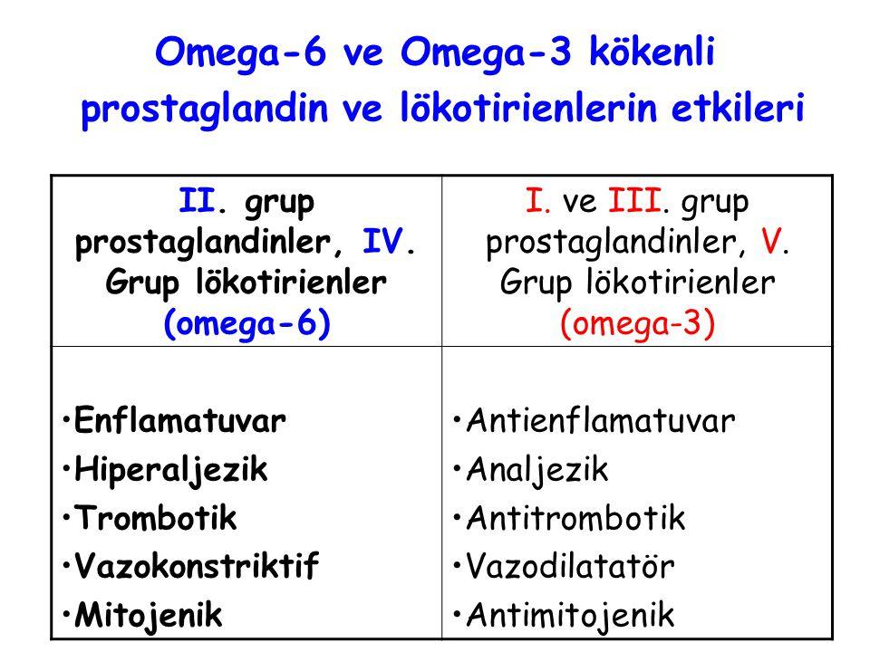 Omega-6 ve Omega-3 kökenli prostaglandin ve lökotirienlerin etkileri