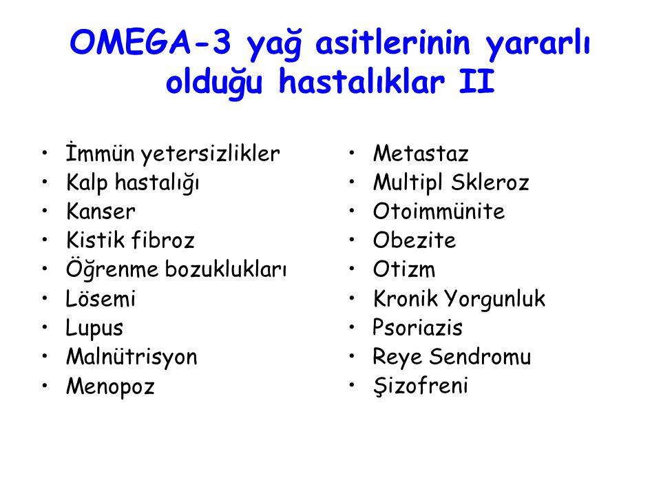 OMEGA-3 yağ asitlerinin yararlı olduğu hastalıklar II