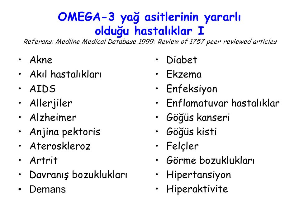 OMEGA-3 yağ asitlerinin yararlı olduğu hastalıklar I Referans: Medline Medical Database 1999: Review of 1757 peer-reviewed articles