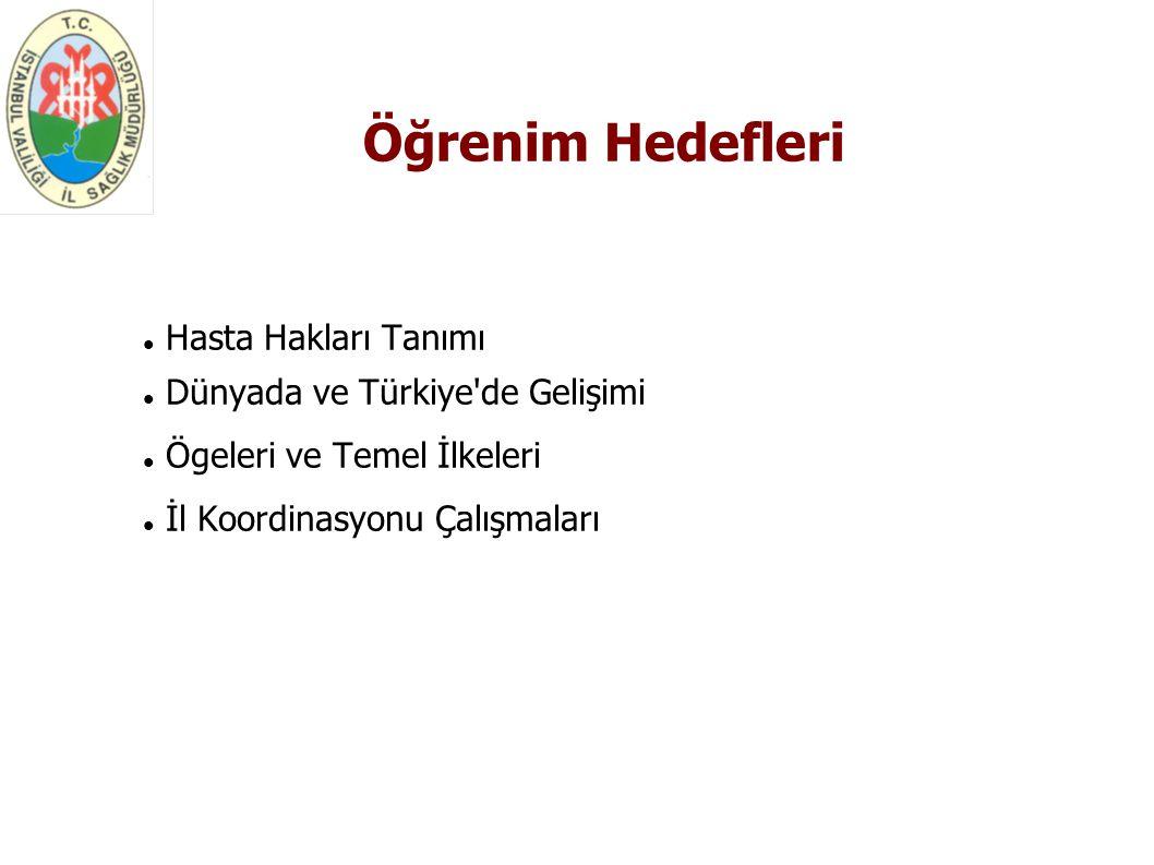 Öğrenim Hedefleri Hasta Hakları Tanımı Dünyada ve Türkiye de Gelişimi