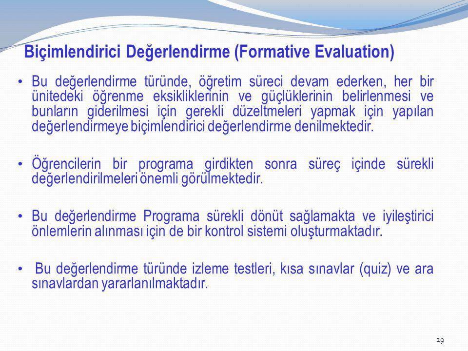 Biçimlendirici Değerlendirme (Formative Evaluation)