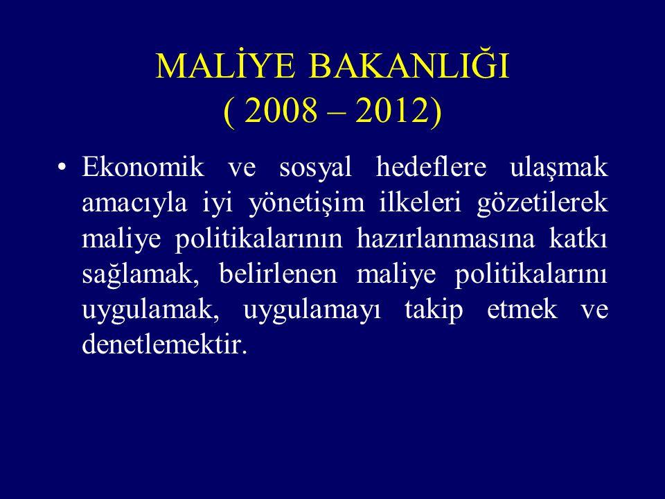 MALİYE BAKANLIĞI ( 2008 – 2012)