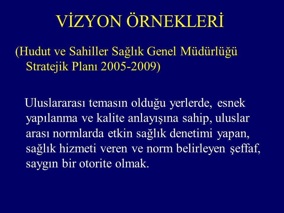 VİZYON ÖRNEKLERİ (Hudut ve Sahiller Sağlık Genel Müdürlüğü Stratejik Planı 2005-2009)