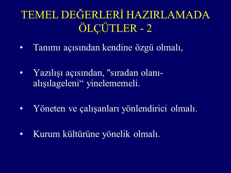 TEMEL DEĞERLERİ HAZIRLAMADA ÖLÇÜTLER - 2