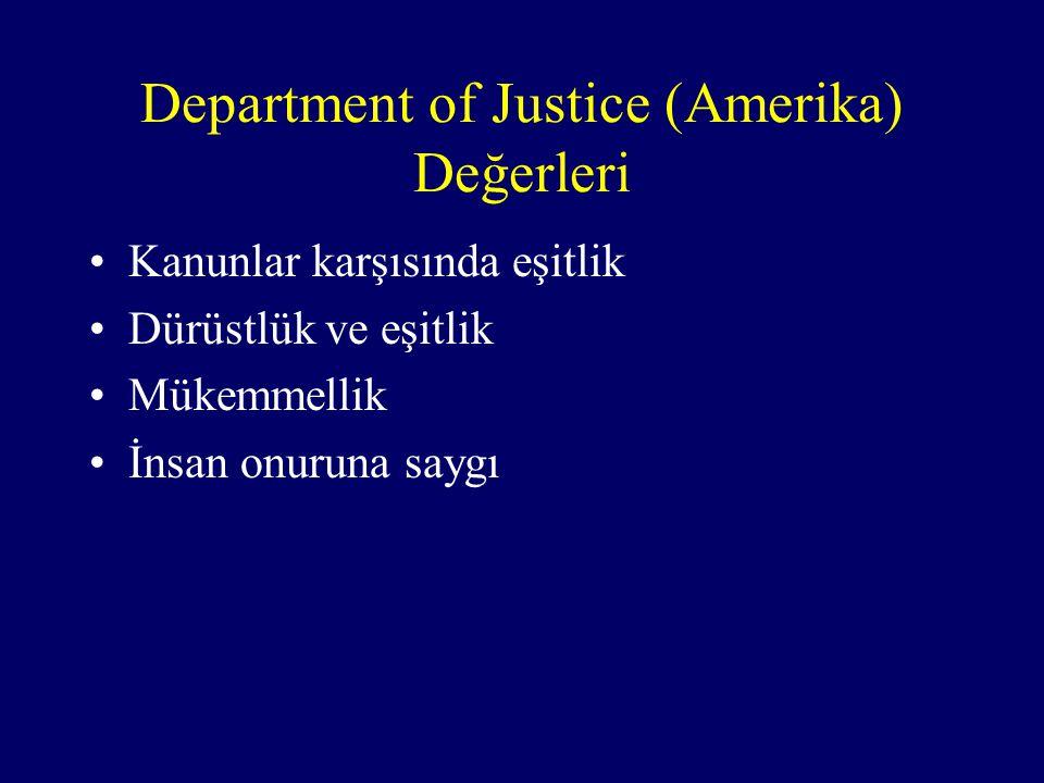 Department of Justice (Amerika) Değerleri