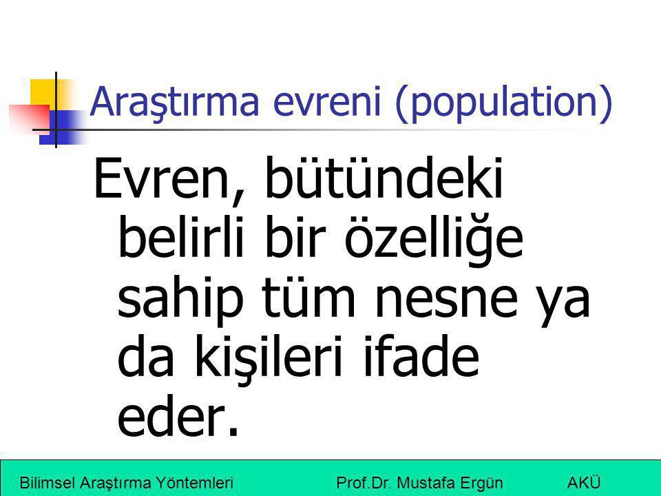 Araştırma evreni (population)