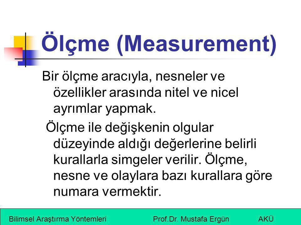 Ölçme (Measurement) Bir ölçme aracıyla, nesneler ve özellikler arasında nitel ve nicel ayrımlar yapmak.