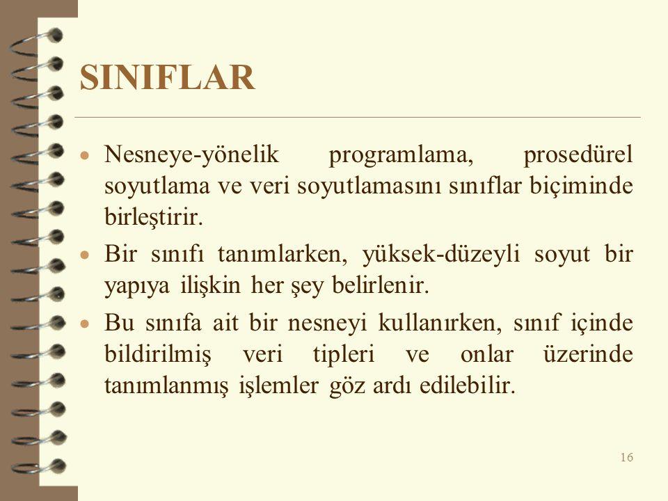 SINIFLAR Nesneye-yönelik programlama, prosedürel soyutlama ve veri soyutlamasını sınıflar biçiminde birleştirir.