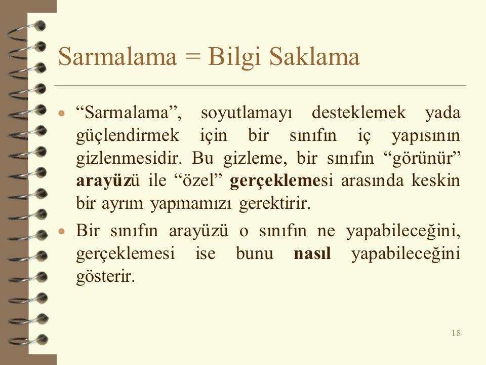 Sarmalama = Bilgi Saklama