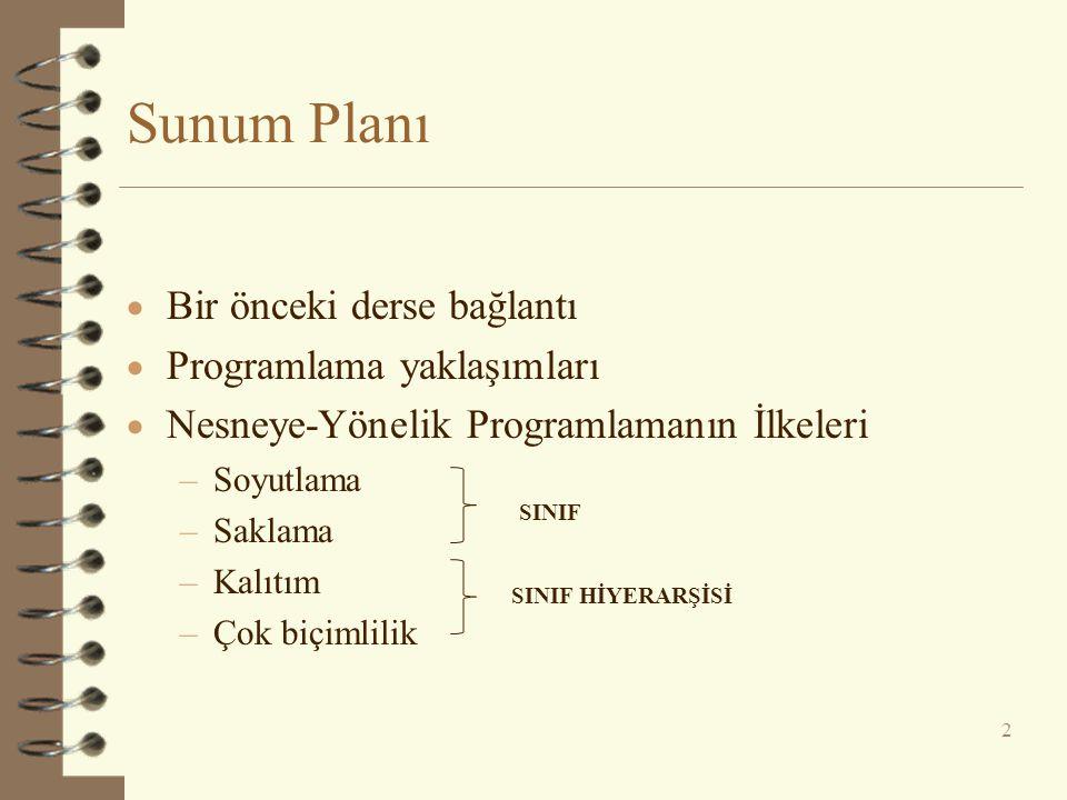 Sunum Planı Bir önceki derse bağlantı Programlama yaklaşımları