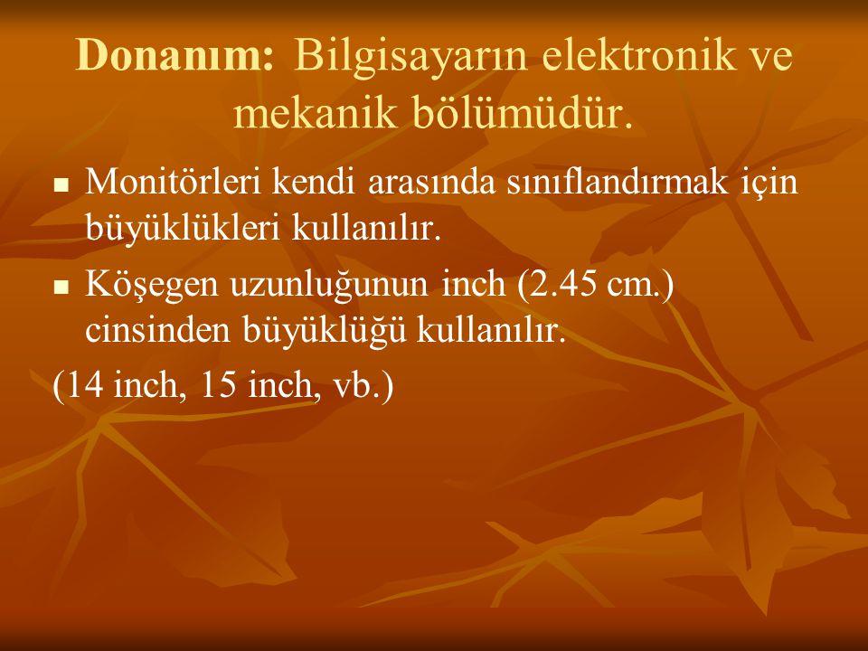 Donanım: Bilgisayarın elektronik ve mekanik bölümüdür.