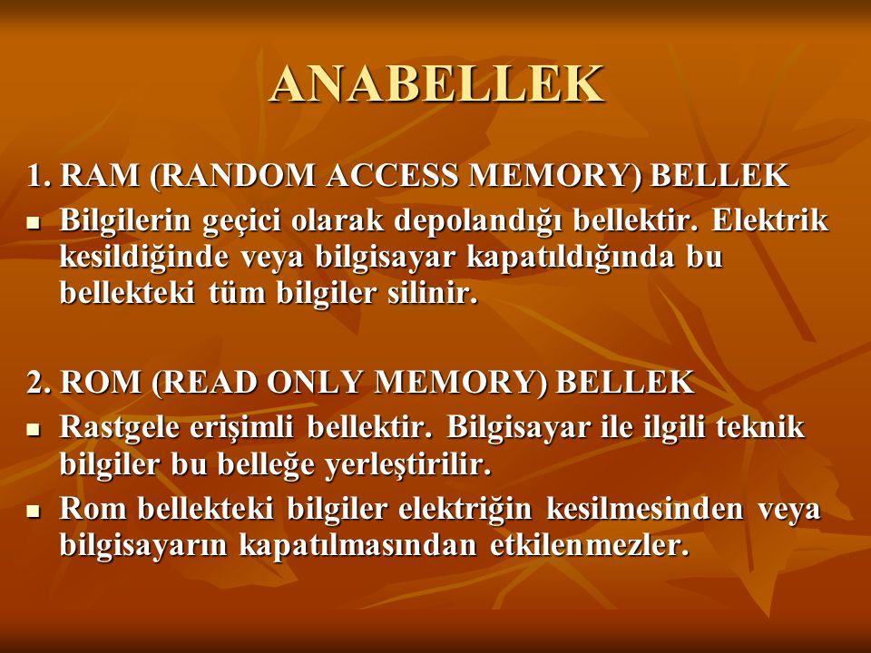 ANABELLEK 1. RAM (RANDOM ACCESS MEMORY) BELLEK