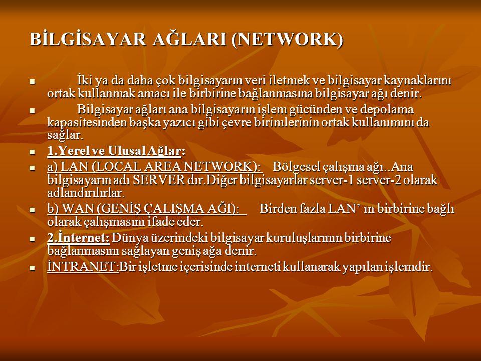 BİLGİSAYAR AĞLARI (NETWORK)